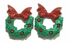 GREEN & RED GLITTERY CHRISTMAS WREATH STUD EARRINGS (H022)