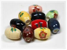 10 kleine Porzellanperlen Mix oval 10*7mm