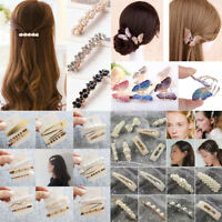 Women Girls Chic Pearl Hair Clip Bobby Pin Barrette Stick Hairpin Hair Accessory