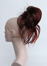 Burgundy wine-red Mix wires tiny claw clip ponytail Daily Hair Extensions