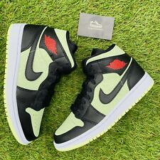 Nike Air Jordan 1 Mid Black Chile Red Barely Volt Green UK 5.5 | EU 39