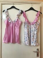 SILKY PINK FLORAL Cami Top With FRILL  ADJ STRAPS  SIZES 8- 20  BNWTT