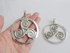 2 Large Tibetan Silver Celtic Triskele Triskelion Triple Spiral Charms Pendants