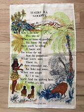New listing Vintage Pure Linen Tea Towel New Zealand Maori Words Haere Ra Goodbye
