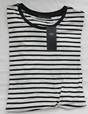 Ladies Marks and Spencer Navy and White Striped Short Sleeved Top Size 16