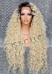 """Human Hair Blend 40"""" Full Lace Front Wig Long Blonde with Dk Roots Heat OK Curly"""