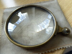 Large Antique Industrial Commercial Brass Mounted Magnifying Glass