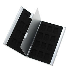 Silver Aluminum Memory Card Storage Case Box Holder For 24TF Micro SD Cards