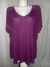 TERRA & SKY Top Women's Plus Size 2X (20W-22W) Fashion Tee Shirt Purple Oxford