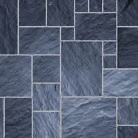 1/12 Dolls House Dark Slate Floor Tiles Gloss Card A3 Flooring Sheet DIY433
