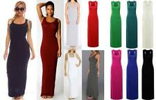 New Womens Ladies Jersey Racer Back Sleeveless Long Vest Maxi Dress 8-26 Plus