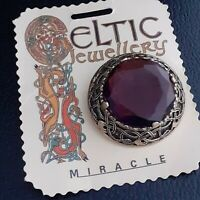 Stunning Vintage Signed Miracle Celtic Amethyst Purple Glass Goldtone Brooch