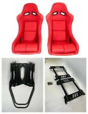 Pair 2 F1spec Type 5 Red Cloth Racing Bucket Seats Jdm For Wrxsti 08 14