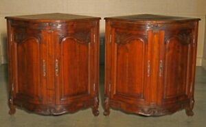 French Louis XV Carved Walnut Bombe Low Corner Cabinets (pair)