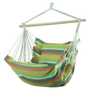 New Swing Chair Garden Hammock Outdoor Wooden Rope Hanging Sofa Swing Seat UK
