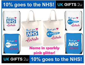 Personalised THANK YOU NHS KEY WORKER Drawstring tote bag for life 10% to NHS