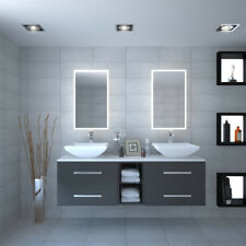 Bathroom Fitted Furniture Wall Sonix 1500mm Grey Glass top Double Basin with Tap