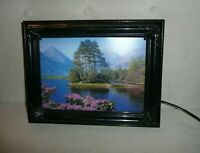 """Vintage Moving Picture Lamp W Sound Mountain Lake Pine Nature Scene 9"""" x 12"""" NEW"""