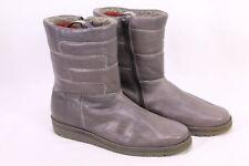 C229 Boots Stiefel Stiefeletten Gr. 41 Leder grau gefüttert Vintage ungetragen