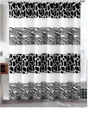 Shower Bath Curtain Zebra Safari Print With Hooks 180x180cms Black And White