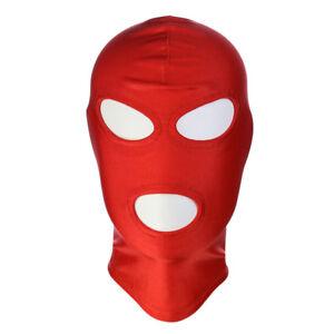 Red Spandex Wet look Latex Mask fancy dress Hood, Spandex Gimp mask Size M
