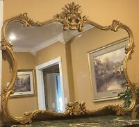 """ANTIQUE ESTATE ORNATE CARVED GOLD GILT FLOWERS WALL HANGING MIRROR  55"""" X 66"""""""