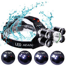 80000LM 5 Head CREE XM-L T6 LED 18650 Headlamp Headlight Flashlight Torch Light