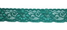 1,49€/m 1m elastische Spitze 30 mm breit Glanzeffekte grün Band Borte nähen Neu
