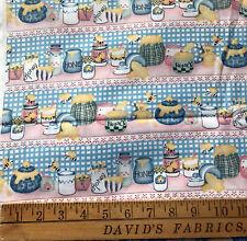 Daisy Kingdom Honey Pot Stripe Fabric 45 BTY cotton blue bees bears USA F191