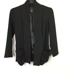 Luii Womens M Open Front Jacket Blazer Cardigan Black Cotton Stretch Ruching