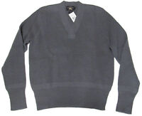 $295 Double Ralph Lauren RRL Mens Grey Slim Fit V Neck Chunky Wool Knit Sweater