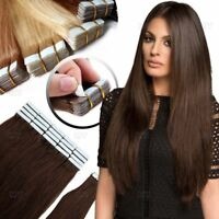 8A Seamless Tape In Pu Skin Weft Remy Human Hair Extensions 16-26Inch blonde