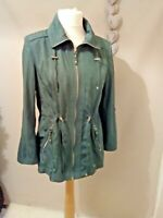 NEW Isle EWM light weight utility jacket Forest Green ladies 12 zip pockets #j2