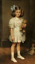 ANTIQUE TEDDY BEAR DOLL GIRL PAINTING REPRO CHILDHOOD CANVAS ART PRINT