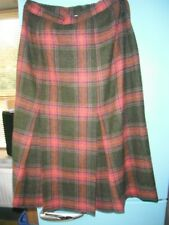 James Meade Ltd 100% Wool Size 14 Ladies Tartan Skirt Fully Lined Green/Heather.