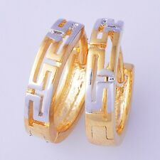 Women's Mens Stylish Yellow Gold Plated Hoop Earrings Lot Vintage Huggie Jewelry