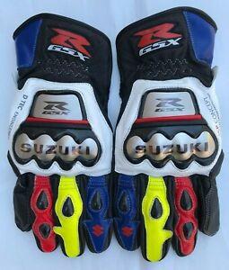 Suzuki GSXR Motorbike Racing Leather Gloves