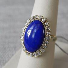 Lapis Lazuli Cabochon 14k Yellow Gold Diamond Ring 6