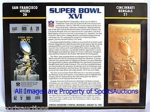 SUPER BOWL 16 SAN FRANCISCO 49ERS  BENGALS Willabee Ward 22KT GOLD TICKET SB XVI
