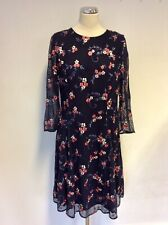 MONSOON  DARK BLUE EMBROIDERED FLORAL PRINT 3/4 SLEEVE DRESS SIZE 16