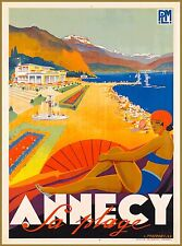 Annecy La Plage Lake France French Europe Vintage Travel Advertisement Poster