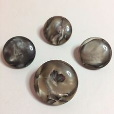 4 Vintage Plastic Sewing Buttons With Gray Marble Design 1 Large & 3 Small