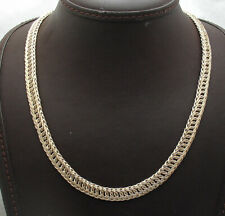 """18"""" Interlocked Curb Woven Braided Link Chain Necklace Real 10K Yellow Gold"""