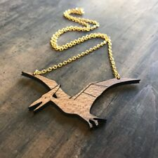 Large wooden dinosaur pterodactyl necklace handmade by Asbeau ♡