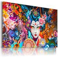 MYSTERIOUS LADY GEISHA JAPAN FLOWERS Canvas Wall Art AB526 UNFRAMED-ROLLED