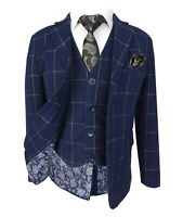 Boys Kids Navy Blue Gold Windowpane Checked Suit Page Boy Wedding Communion Suit