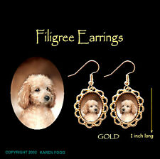 Poodle Mini Apricot Puppy Cut - Gold Filigree Earrings Jewelry