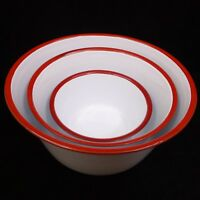 "New ENAMELWARE Set of 3 Mixing Bowls 6"", 8"" & 9¾"" White w/ Red Rim Vintage Style"
