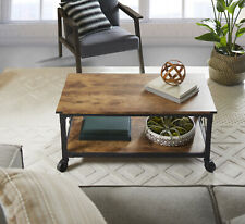 Rustic Country Weathered Pine Finish Coffee Table Living Room Wooden Furniture