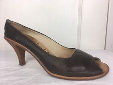 """Ellen Verbeek Heels Pumps Women's Sz 38 Brown Leather Made in Italy 3"""" Heel GUC"""